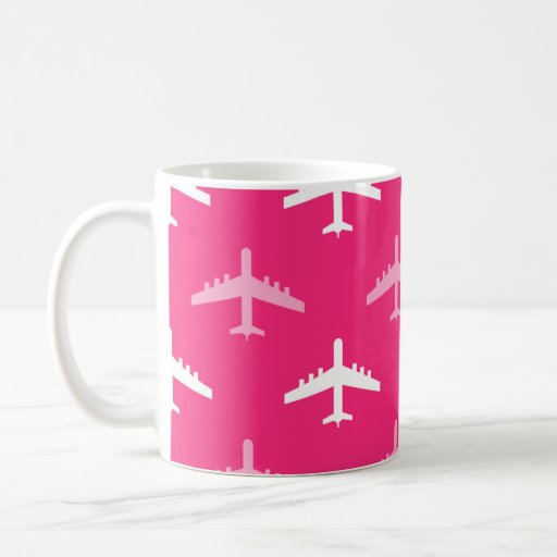 Hot Pink and White Airplanes Coffee Mugs