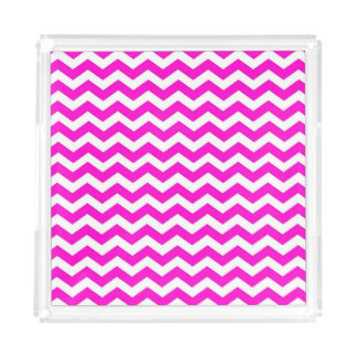 Hot Pink and White Chevron Acrylic Tray