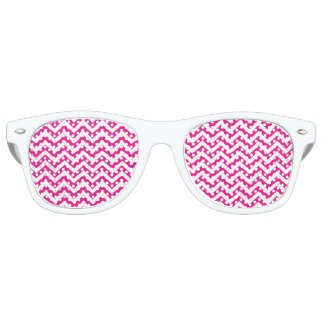 Hot Pink and White Chevron Pattern Retro Sunglasses
