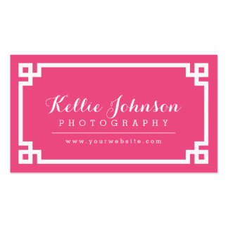 Hot Pink and White Chic Greek Key Border Pack Of Standard Business Cards