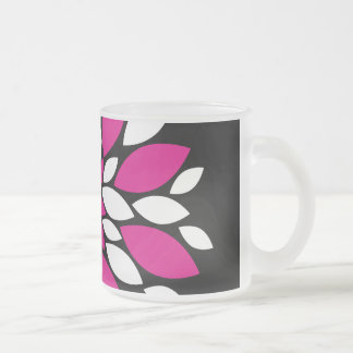 Hot Pink and White Flower Petals Art on Black Coffee Mugs