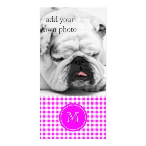 Hot Pink and White Gingham, Your Monogram Personalized Photo Card