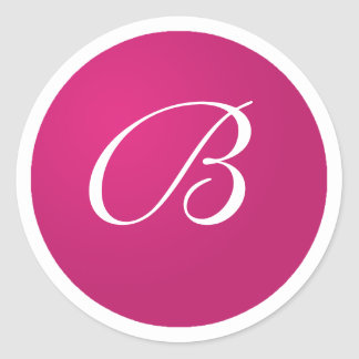 Hot Pink and White Monogram B Envelope Stickers