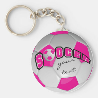 Hot Pink and White Personalize Soccer Ball Basic Round Button Key Ring