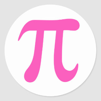 Hot pink and white pi symbol stickers