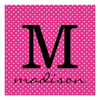 Hot Pink and White Polka Dot Monogram Print Perfect Poster