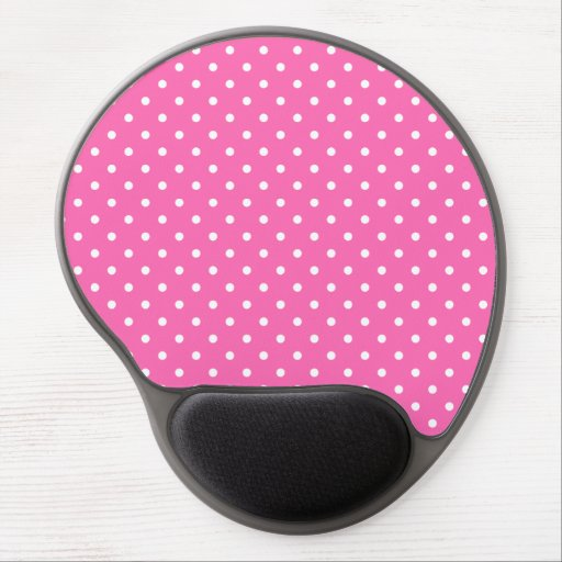 Hot Pink and White Polka Dot Pattern Gel Mousepad