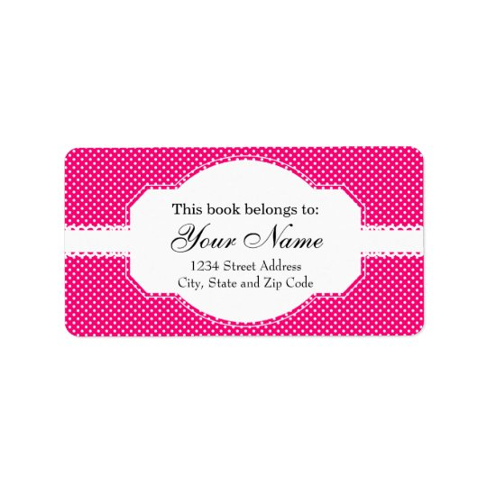 Hot Pink and White Polka Dot Pattern Label
