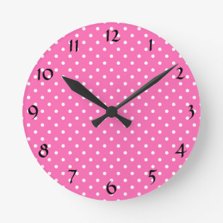 Hot Pink and White Polka Dot Pattern Wallclock