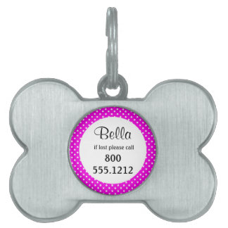 Hot Pink And White Polka Dot Pet Identity Tag