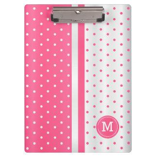 Hot Pink and White Polka Dots - Monogram Clipboard