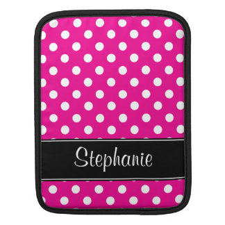 Hot Pink and White Polka Dots Personalized iPad Sleeve