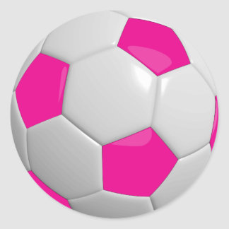 Hot Pink and White Soccer Ball Round Sticker