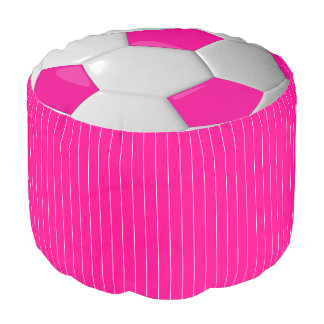 Hot Pink and White Soccer Sport Pattern Pouf