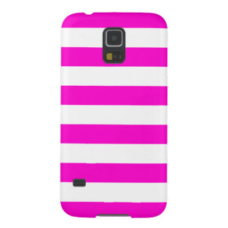 Hot Pink and White Stripes Girly Galaxy S5 Cases