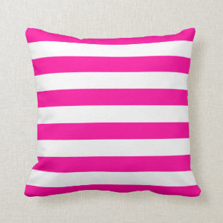 Hot Pink and White Stripes Pattern Cushion