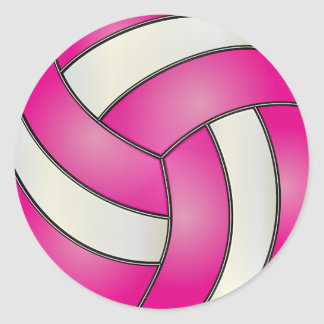 Hot Pink and White Volleyball Classic Round Sticker