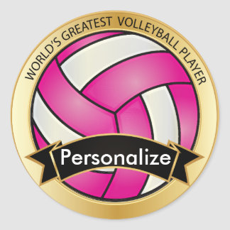 Hot Pink and White Volleyball Round Stickers