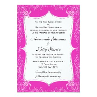Hot Pink and White Wedding/All Occasion Invite