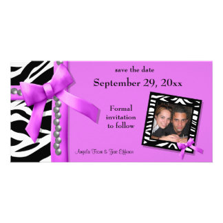 Hot Pink And White Zebra Gems Save The Date Card