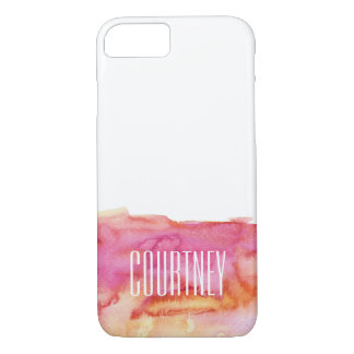 Hot Pink and Yellow Watercolor Monogram iPhone 8/7 Case