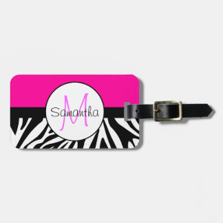 Hot Pink and Zebra Animal Print Custom Monogram Luggage Tag