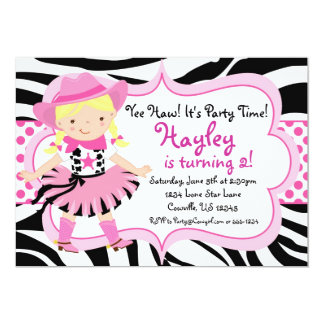 Hot Pink and Zebra Print Cowgirl Birthday Party Card