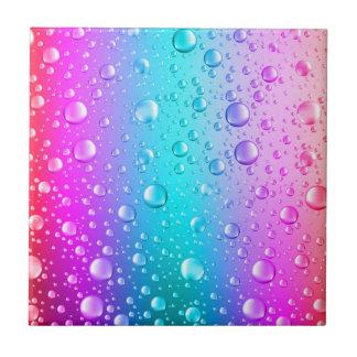 Hot Pink & Aqua Blue Gradient Water Droplets Tile