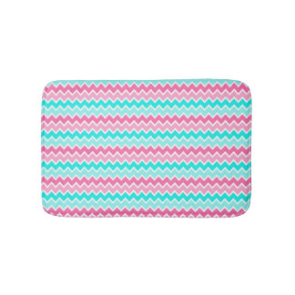 Hot Pink Aqua Turquoise Blue Ombre Chevron Bath Mat