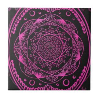 Hot Pink, Awakening zen pattern, healing, chakra Tile