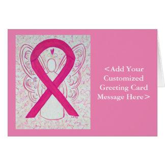Hot Pink Awareness Ribbon Personalized Card