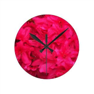 Hot Pink Azalea Flowers Round Clock