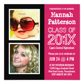 Hot Pink Baby and Grad Photo Graduation Party 13 Cm X 13 Cm Square Invitation Card