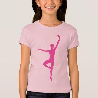 Hot Pink Ballet Dancer Girls Fitted Babydoll Shirt