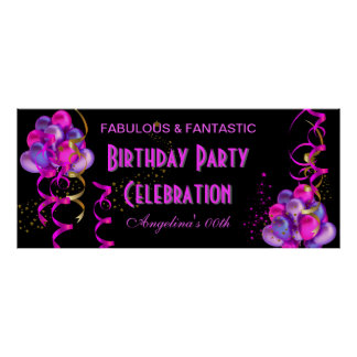 HOT PINK Banner Birthday Party Celebration Black Poster