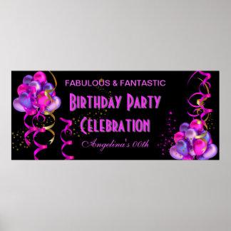 HOT PINK Banner Birthday Party Celebration Black Poster