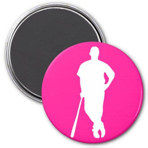 Hot Pink Baseball; softball Fridge Magnet