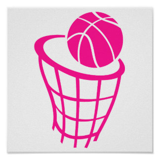 Hot Pink Basketball Print
