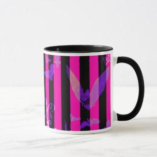 Hot Pink Bats Goth Halloween Mug