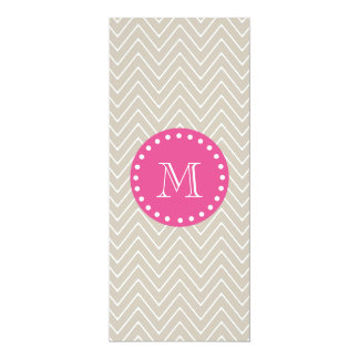 Hot Pink, Beige Chevron   Your Monogram 4x9.25 Paper Invitation Card