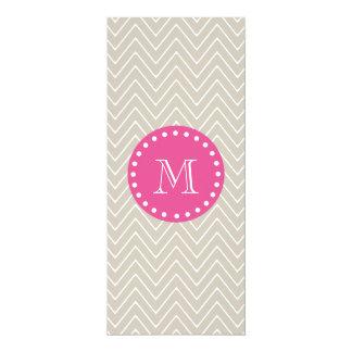 Hot Pink, Beige Chevron | Your Monogram Custom Invite