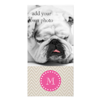 Hot Pink, Beige Chevron | Your Monogram Picture Card