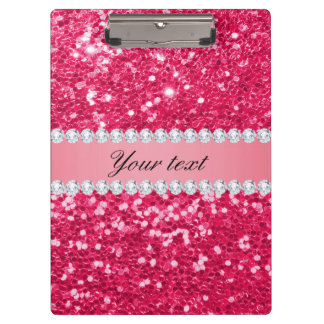 Hot Pink Big Faux Glitter with Diamonds Clipboard