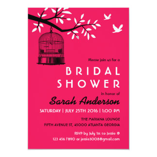 Hot Pink Bird Cage Bridal Shower Invitation