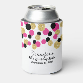 Hot Pink, Black and Gold Glitter Confetti | 40th Can Cooler