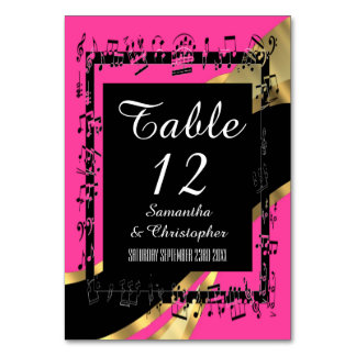 Hot pink, black and gold personalised number card