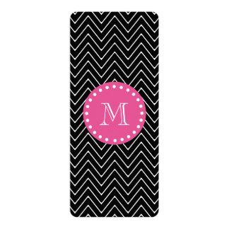 Hot Pink, Black and White Chevron | Your Monogram 10 Cm X 24 Cm Invitation Card
