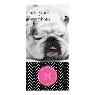 Hot Pink, Black and White Chevron | Your Monogram Photo Card
