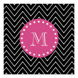Hot Pink, Black and White Chevron | Your Monogram Poster