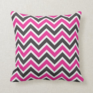 Hot Pink, Black and White Chevrons Cushion